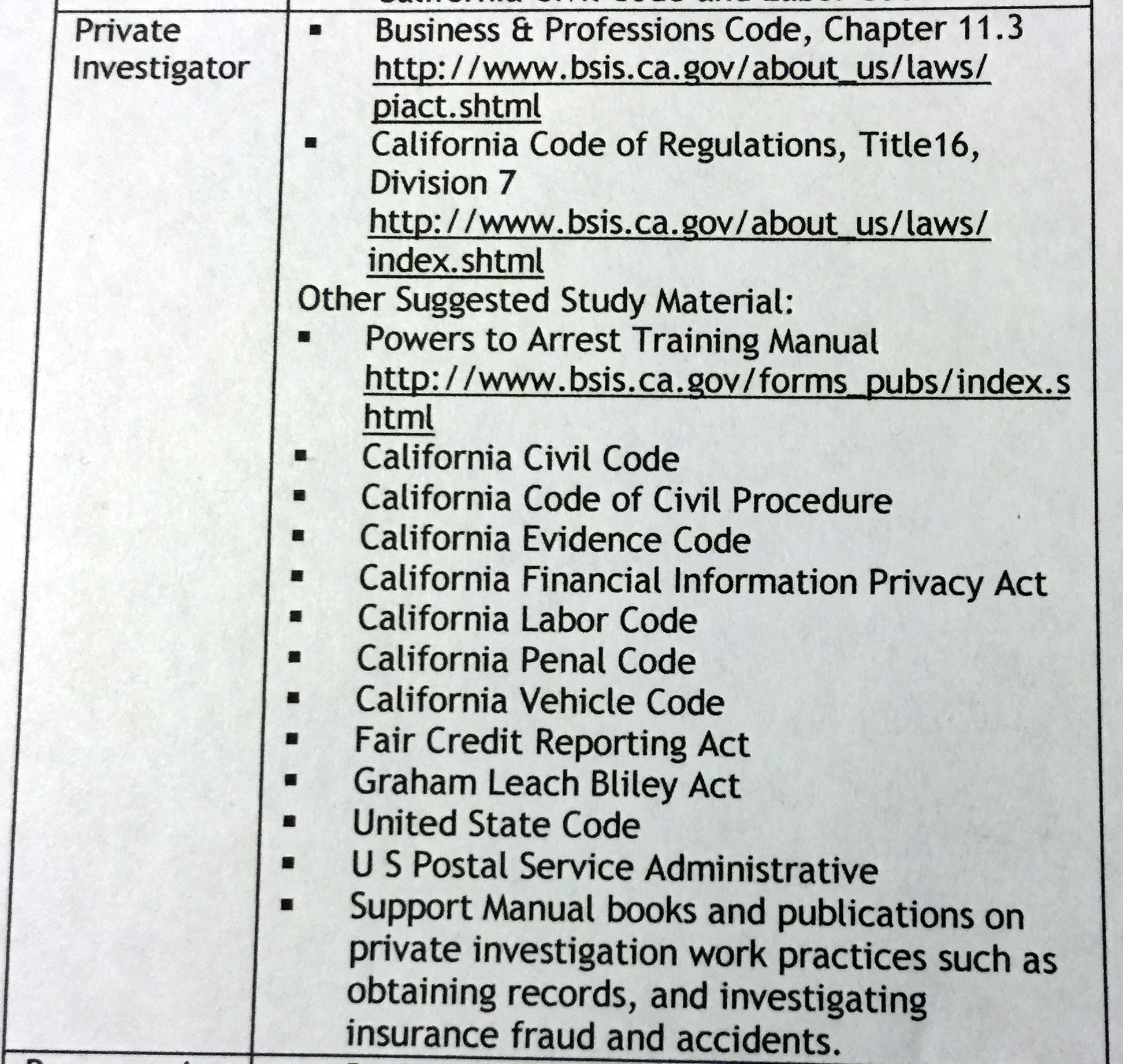 study guide California PI license exam
